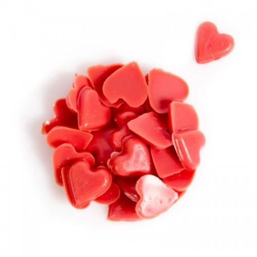 Čokoládová dekorace - červená srdíčka 10mm - 50g