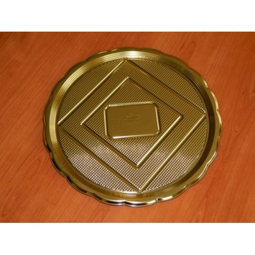 Alcas - umělohmotný tác pod dort - zlatý kulatý 28cm