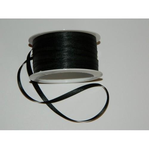 Atlasová stuha - černá 20m/ 5mm