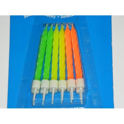 Narozeninové neon svíčky  - 12ks