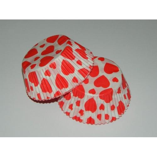 Cukrářské košíčky - červené srdíčko - 40ks