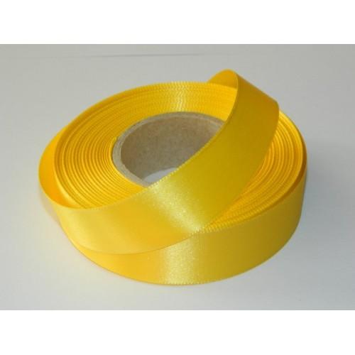 Atlasová stuha - žlutá  - 20m/ 24mm