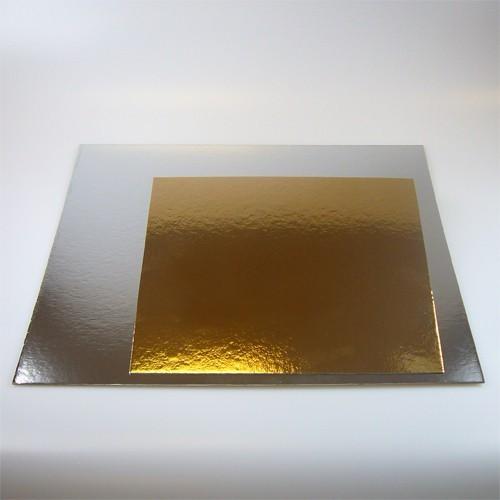 Čtvercová podložka pod dort zlatá / stříbrná 35cm