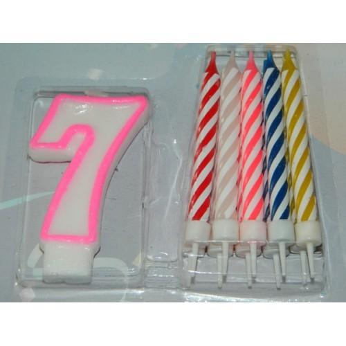 Dortová svíčka - 7 + 10 svíček