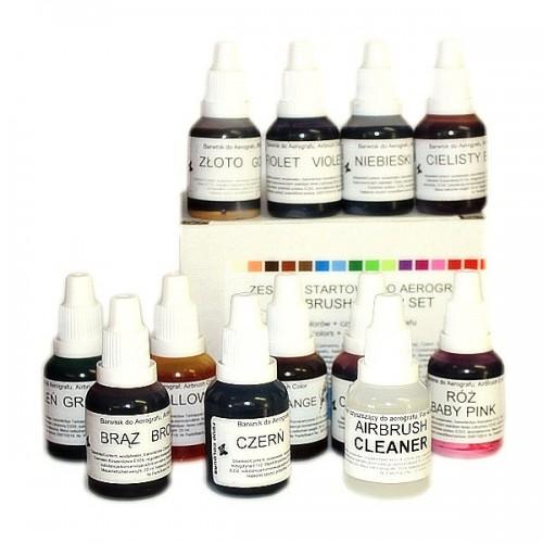 Sada airbrushových barev a čističe Food Colours (12 ks)