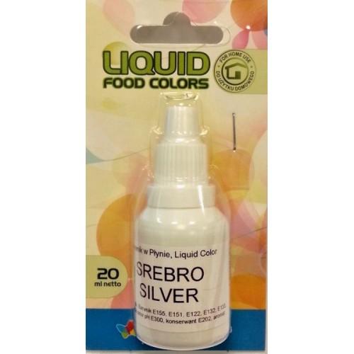 Airbrush perleťová barva tekutá Food Colours Silver (20 ml) Stříbrná