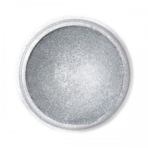 Jedlá prachová perleťová barva Fractal - Dark Silver, Sötét metál ezüst (2,5 g)