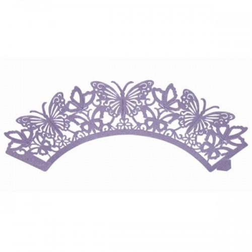 PME Cupcake Wrappers - krajkový košíček - motýl fialový - 12ks