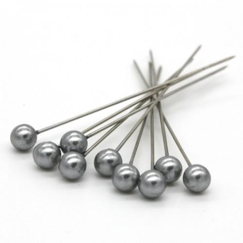 Dekorační špendlík - stříbrná perla - 65mm/9ks