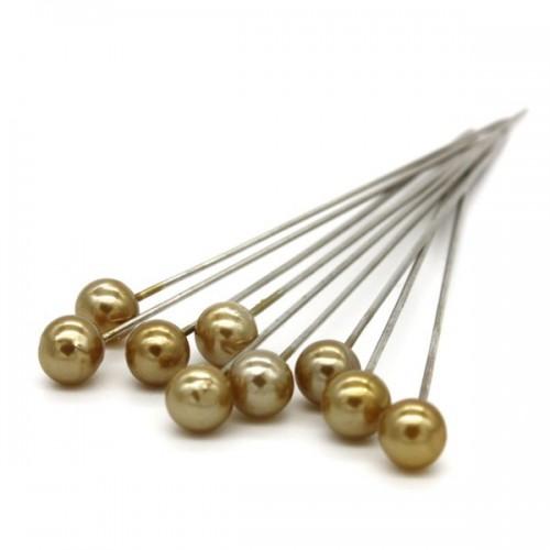 Dekorační špendlík - zlatá perla - 65mm/9ks