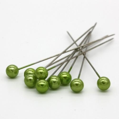Dekorační špendlík - světlá zelená perla - 65mm/9ks