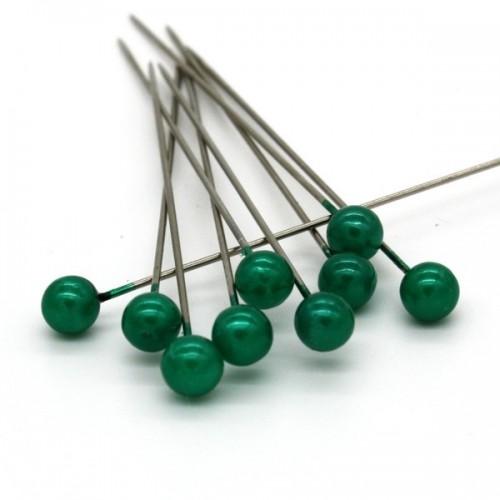 Dekorační špendlík - tmavá zelená perla - 65mm/9ks