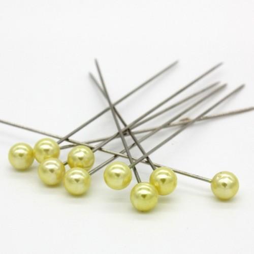 Dekorační špendlík - žlutá  perla - 65mm/9ks