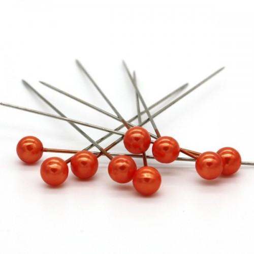 Dekorační špendlík - oranžová perla - 65mm/9ks