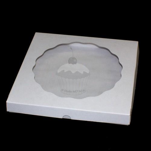 Krabička  s průhledným víkem - bílá - 33,5 x 33,5cm