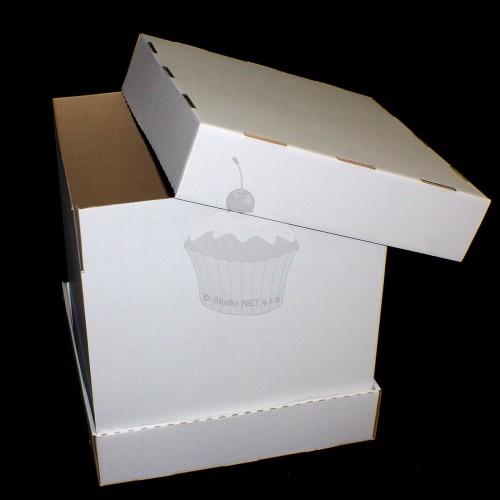 Krabice na patrový dort - extra pevná - bílá - 43 x 43 x 47cm