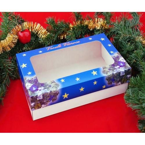 Krabice na cukroví - vánoční modrá - 1/2kg