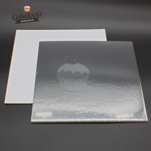 Caketools  podložka pod dort stříbrná 20cm /0,3cm čtverec