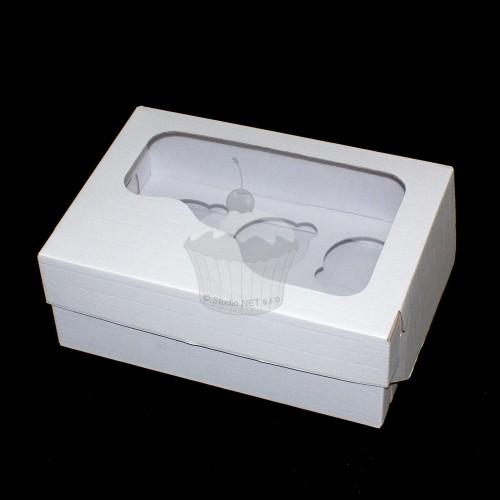 Krabička na muffin /  CupCakes - pevná - bílá - 6