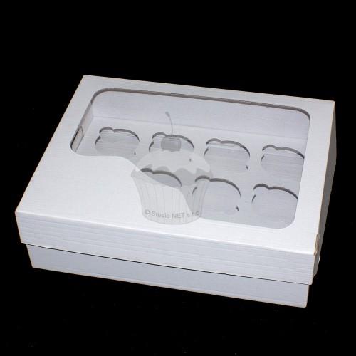 Krabička na muffin /  CupCakes - pevná - bílá - 12