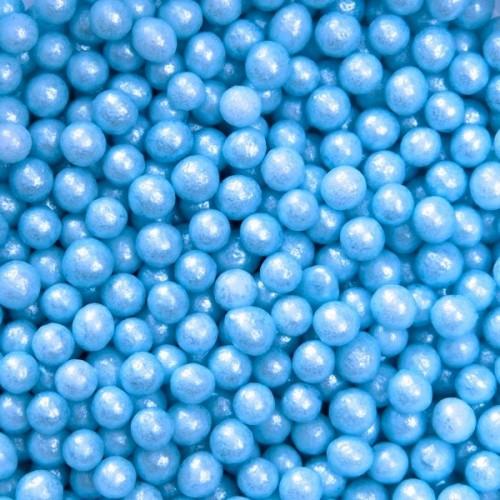 Cukrové perličky 4mm - modrá perleť - 50g