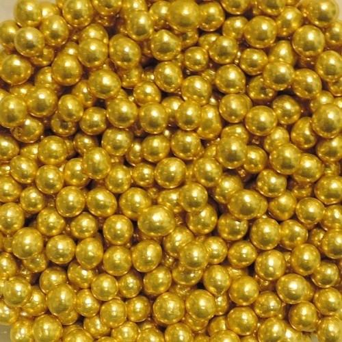 Cukrové perličky II. 6,5mm - zlaté - 50g