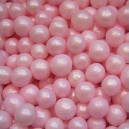 Cukrové perličky 4mm - růžová perleť - 50g