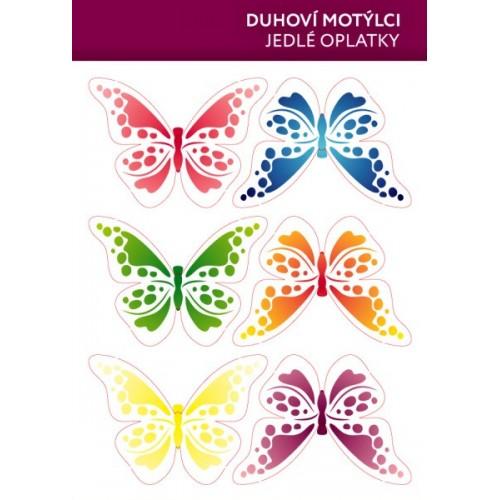 Jedlý papír karta - Motýl mix  - duhový - 6ks