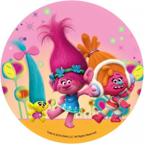Jedlý papír kulatý - Trollové - Poppy a Dýdžejka Suki