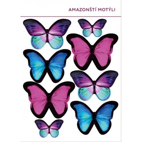 Jedlý papír karta - Amazonští motýli - 8ks