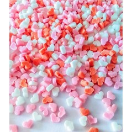 Cukrové zdobení - srdíčka růžová/červená/bílá - 50g