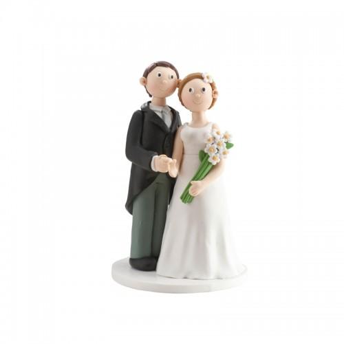 Svatební figurky - bílá kytice