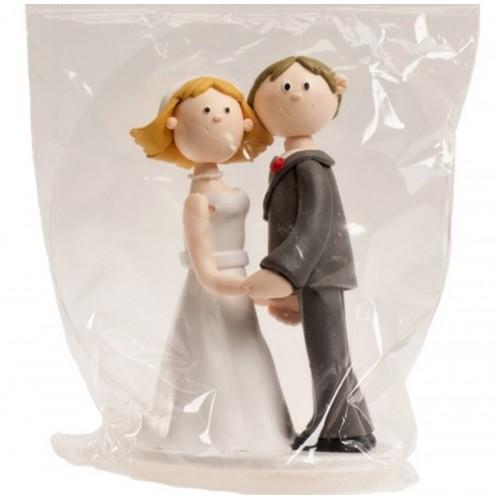 Svatební figurky - držící se za ruce - jíl - 14cm
