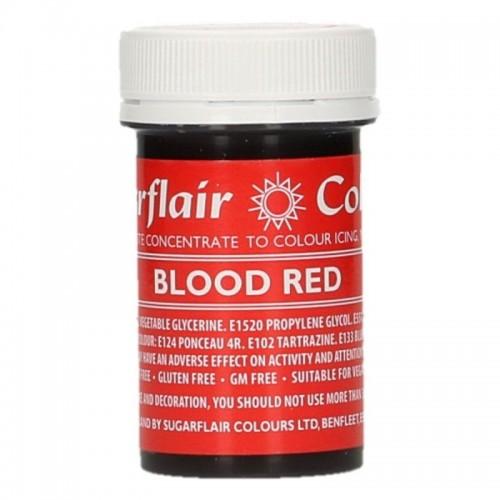 Sugarflair paste colour - gelová barva - červená - Blood red  25g