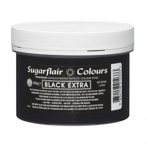 Sugarflair MAXIMUM concentrated gelová barva Black extra  XXL - černá - 400g