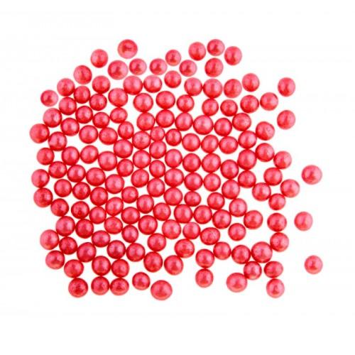 Cukrové perličky 4mm - červené - 50g